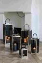 Fink Malawi Laterne Windlicht Vernickelt Smoke Ledergriff 18X18X25 cm 158040