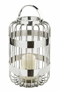 Fink Cameron, Windlicht mit Glas, Edelstahl , Glas, silber, H= 39,5 cm, Ø 25,5 cm Neuheit 2020 159037