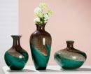 """Gilde GlasArt Vase bauchig """"Curl"""" braun, türkis mundgeblasen und durchgefärbt Länge 28,0 cm Breite 28,0 cm Höhe 24,5 cm 39024"""