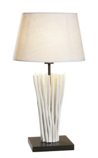 """Gilde Treibholzlampe """"Stella"""" weiß mit beigem Schirm (35 x 25 cm) Fassung E 27 max. 40 Watt  Länge 35,0 cm Breite 35,0 cm Höhe 65,0 cm 42071"""