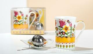 Gilde Keramik 3Tlg.Teeset Blumengarten 49272