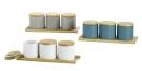 Gilde Keramik Set3 Töpfchen auf Bambustablett 49282