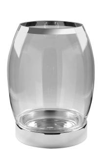 Fink York Windlicht Platinum M.Silberf.Klar,Vers Höhe 39, Durchmesser 31 139003