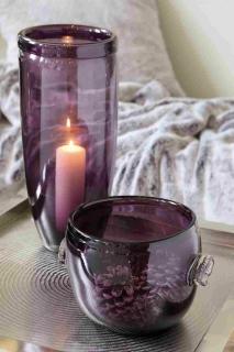 Fink DENA Vase,Glas,grau,weiß,luster  Höhe 17cm, Ø 16cm 115019