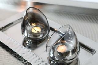 Fink RUBIO Vase,Windlicht,Glas,grau 20x20x20 cm 115045