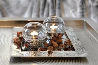 Fink JOJO TeelichtH=mit Glas Keramik silber Linie 12x12cm 128337