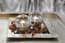 Fink JOJO TeelichtH=mit Glas Keramik silber Linie 12x12cm...