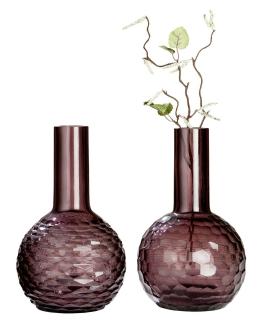 """Gilde GlasArt Vase """"Viola"""" bauchig lila, durchgefärbt Wabenmuster / Rautenmuster Höhe 27,0 cm Durchm. 14,0 cm 39040"""