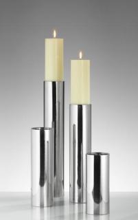 Kaheku Leuchter Sub Edelstahl 7,5 cm Ø 35h  für Kerze bis 7 cm Ø 758003097