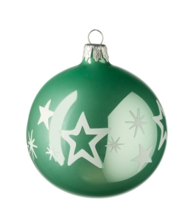 Leonardo Weihnachtskugel Kugel 10 cm grün Sterne Natale 28460