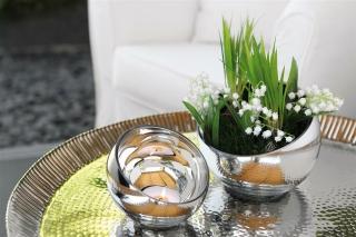 Fink Puro  Teelichthalter  Glas  silberfarben  Höhe 15 cm  Durchmesser 20 cm 115128
