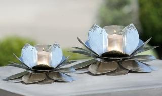 Gilde Alu  Windlicht Blüte silber, mit Glas Höhe 23 cm Ø 30 cm 65771