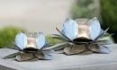 Gilde Alu  Windlicht Blüte silber, mit Glas...