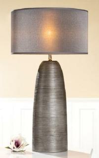 "Gilde Keramik Lampe ""Incavo"" konisch, grau, Schirm grau 32242"