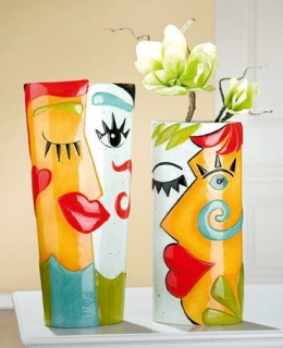 Gilde Keramik Säulenvase La Cara 32419