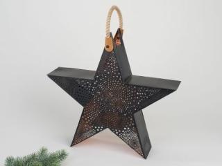 Formano Windlicht Stern 40cm Kreise schwarz 516749
