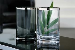Fink EZ-PLATINUM Vase m.Platin,smoke,150027  Höhe 18, Ø 12cm 112252