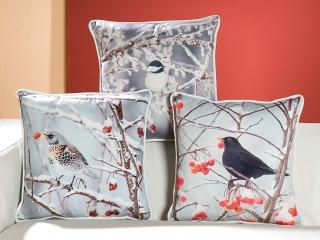 Gilde Stoff Kissen Wintervogel 44981 40x40cm