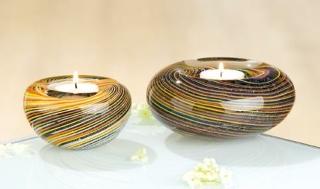 Gilde Glas 1 x Teelichthalter Stripes 39138