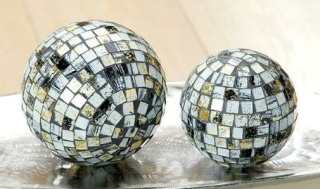Gilde Glas Mosaikkugeln gold/weiss/schwarz Ø=13,0 cm