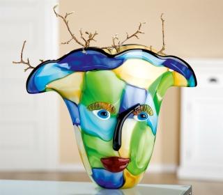 """Gilde GlasArt Design-Vase """"Visto"""" mit Gesicht, grün, blau, gelb mundgeblasen und durchgefärbt Länge 20,0 cm Breite 36,0 cm Höhe 30,0 cm"""