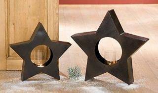 Gilde Eisen Windlicht Stern  dunkelbraun rusty, B40/H38 + B50/H48  cm  cm cm  cm