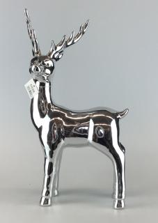Gilde Porzellan Rentier Stehend silber 35,5x20x9 cm 25698