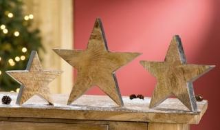 Gilde 1 x Holz Stern mit Silberberzug 20 x 20 cm 25885