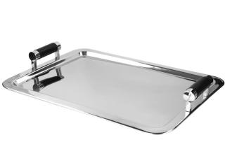 Fink Monza  Tablett  Edelstahl   Leder  vernickelt  schwarz  silberfarben  Breite 45 cm  Höhe 8 cm  Länge 61 cm   155052