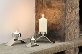 Fink Wave  Teelichthalter  Aluminium  Glas  vernickelt  silberfarben  Breite 7 5 cm  Höhe 10 cm  Länge 21 cm   158090
