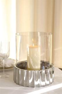 Fink WINDSOR Windlicht Edelstahl mit Glas H=32 5cmD=24 159100