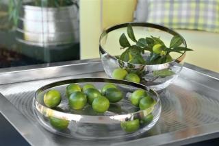 Fink Platinum  Glasschale  Glas  Platinumauflage  silberfarben  transparent  Höhe 7 cm  Durchmesser 38 cm 112026