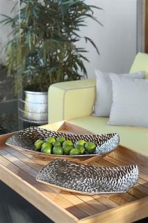 Fink Twist  Schale  Keramik  silberfarben  Breite 25 cm  Höhe 8 cm  Länge 40 cm   126020
