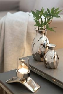 Fink Elani  Vase  Porzellan  silberfarben  Höhe 10 cm  Durchmesser 6 cm 127008