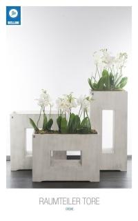 Bellini Raumteiler Tore flach 75 cm creme 411051 Pflanztopf Blumentopf kubisch
