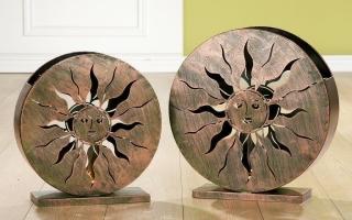 """Gilde Metall Windlicht """"Solare""""  kupfer/patina gr,B37+43/H39+45,Glas D7/H14 Länge 13 cm Breite 0 cm Höhe 0 cm 69664"""