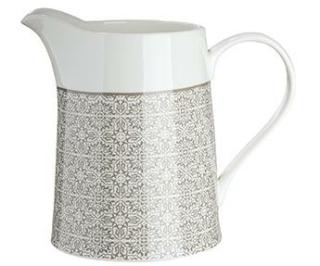 """Gilde Krug """"Grey Ornaments"""" im Ornamentdesign Bella Vita aus Knochenporzellan, Fassungsvermögen: 1200 ml 49477"""