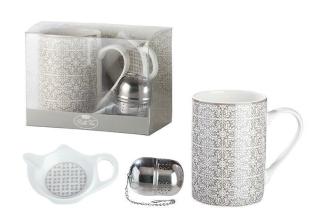 """Gilde 3-tlg. Teeset """"Grey Ornaments"""" im Ornamentdesign Bella Vita aus Knochenporzellan,  mit 2-tlg. Filter aus Edelstahl und Ablageschale aus Porzellan in Geschenkverpackung Fassungsvermögen 320 ml 49471"""