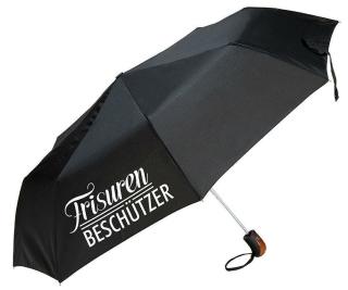"""Gilde Textil Regenschirm """"Frisurenbeschützer"""" schwarz mit Hülle/Griff Holzlook Höhe 53 cm 48124"""