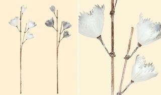 Gilde Deko Magnolienzweig grau + weiss  H 90 cm 42673