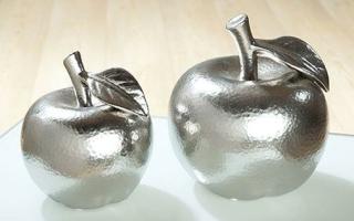 Gilde 1 x Keramik Dekoapfel Battuto  silber matt  16 cm 33063