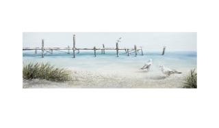 "Gilde Gemälde ""Möven an Seebrücke"" Bild im 3D-Design handgemalt türkis-sand  Länge 4,0 cm Breite 150,0 cm Höhe 50,0 cm 38746"