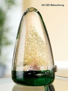 Gilde Glas LED Pyramide mit Baum  grün,gold, Warmlicht,mundgebl.-duchgefärbt Höhe 12 cm 39262
