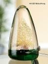 Gilde Glas LED Pyramide mit Baum  grün,gold,...