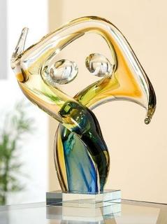 """Gilde Glasart Skulptur Paar""""Wave""""  klar,gelb,grün,blau,durchgefärbt,mundgebl. Länge 14 cm Breite 21 cm Höhe 27 cm 39281"""