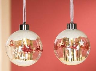 Gilde Glas Led Weihnachtskugel Baumhänger Schlitten 25985 10 cm