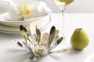 Fink Florine  Teelichthalter  Edelstahl   Glas  vernickelt  silberfarben  Höhe 11 cm  Durchmesser 18 cm 158474