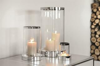 Fink Empire  Windlicht  Eisen  Glas  Platinumauflage  vernickelt  silberfarben  Höhe 44 cm  Durchmesser 25 cm 158425