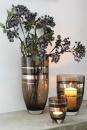 Fink Riva  Glasvase  Windlicht  Glas  Platinumauflage  greige  silberfarben  Höhe 14 cm  Durchmesser 11 cm 115187