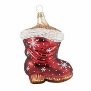 Rödentaler Christbaumschmuck Roter Stiefel mit Schneeflocken Glas 8 cm R13-048901